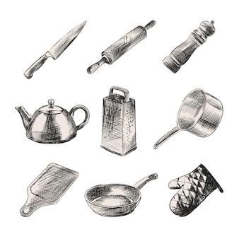 Handgetekende schets van keuken servies. de set bestaat uit mes, waterkoker, deegroller, peperstrooier, rasp, pan, plank, keukenhandschoen