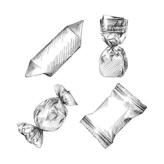 Handgetekende schets van snoepjes in verschillende wrappers op een witte achtergrond. ronde wikkel, envelopwikkelaar, vierkante wikkel, boogwikkelaar