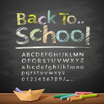 Handgetekende schetsalfabet met pastelkleurbericht terug naar school en papieren bootontwerp