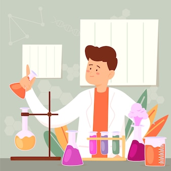 Handgetekende science lab concept