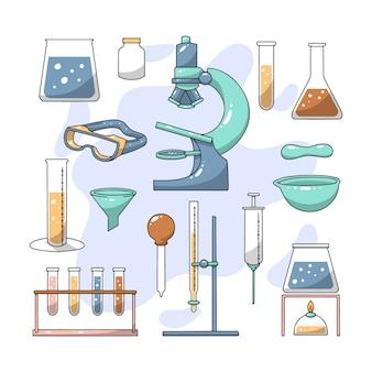 Handgetekende science lab-thema