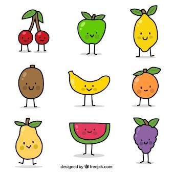 Handgetekende selectie van negen lachende fruitkarakters
