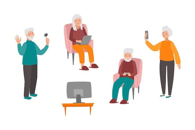 Handgetekende senioren met behulp van technologie