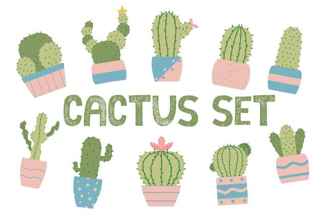Handgetekende set cactussen in potten kamerplanten set bloeiende cactussen