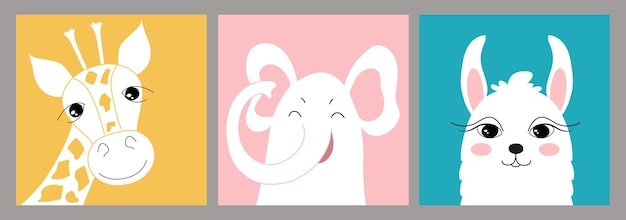 Handgetekende set creatieve illustraties voor kinderen in minimale vlakke stijl met giraffe, olifant en lama. kunst aan de muur met schattige dieren. voor een ansichtkaart, een poster, een kinderkamerdecoratie.
