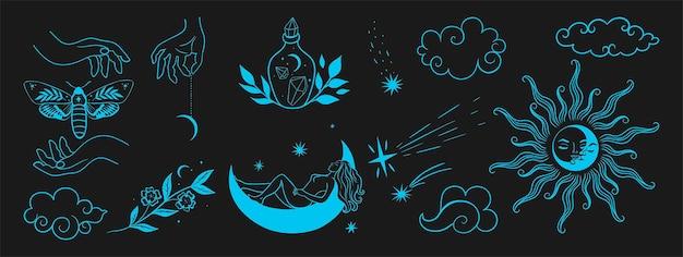 Handgetekende set hemellichamen en mystieke magische elementen. vectorafbeeldingen.