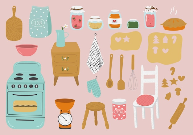 Handgetekende set keukengerei in retrostijl