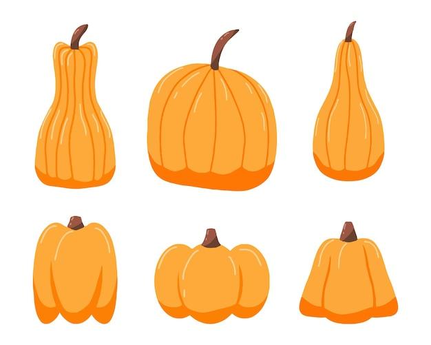 Handgetekende set oranje pompoenen pompoenpictogrammen