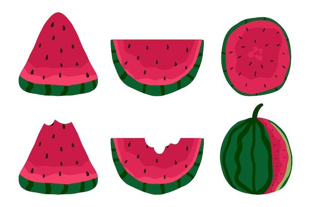 Handgetekende set sappige plakjes watermeloen lekkere watermeloen