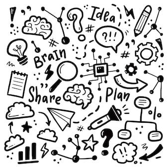 Handgetekende set van brainstorm, idee, hersenelementen