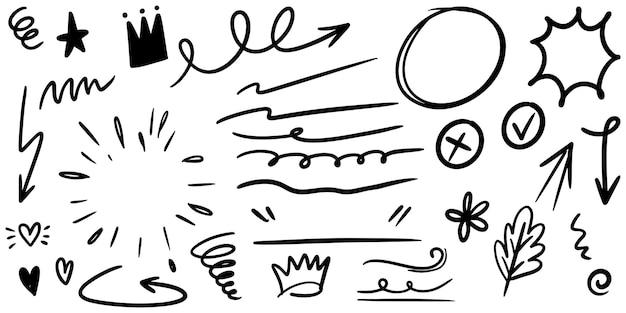 Handgetekende set van krullende zwiepen, swashes, swoops. abstracte pijlen, pijl, hart, liefde, ster, blad, zon, licht, kroon, koning, koningin, op doodle stijl voor conceptontwerp. vectorillustratie.