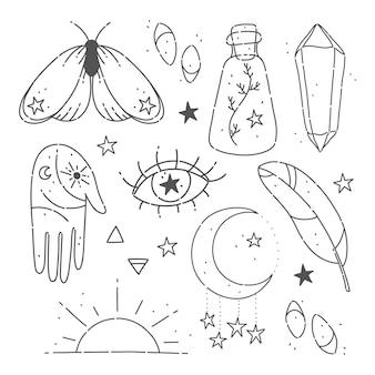 Handgetekende set van magische esoterische elementen
