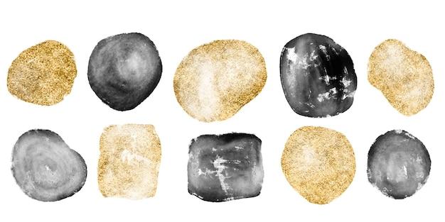 Handgetekende set van verschillende aquarel gouden en zwarte vormen en organische objecten