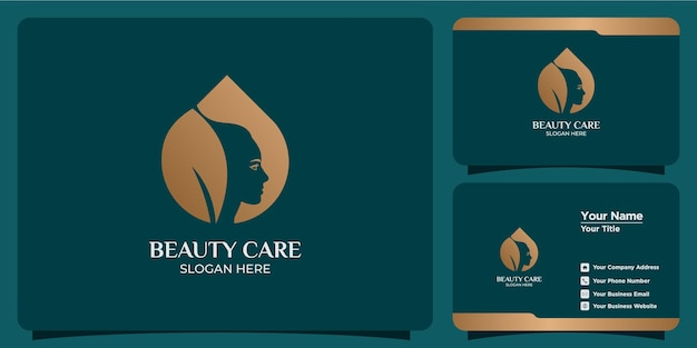 Handgetekende set vrouwelijke logo-sjablonen voor schoonheids- en visitekaartjes