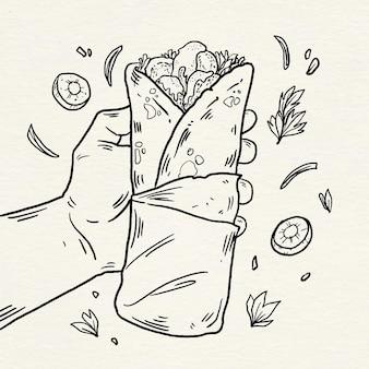 Handgetekende shoarma-illustratie graveren