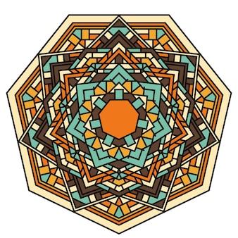 Handgetekende sierkant ronde etnische mandala voor gebruik in ontwerpkaart, uitnodiging, poster, brochures, notebook, datebook, portemonnee, album, schetsboekomslag of pagina's