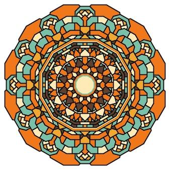 Handgetekende sierkant ronde mandala voor gebruik in ontwerpkaart, uitnodiging, poster, brochures, notebook, datebook, portemonnee, album, schetsboekomslag of pagina's