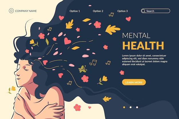 Handgetekende sjabloon voor bestemmingspagina voor geestelijke gezondheid