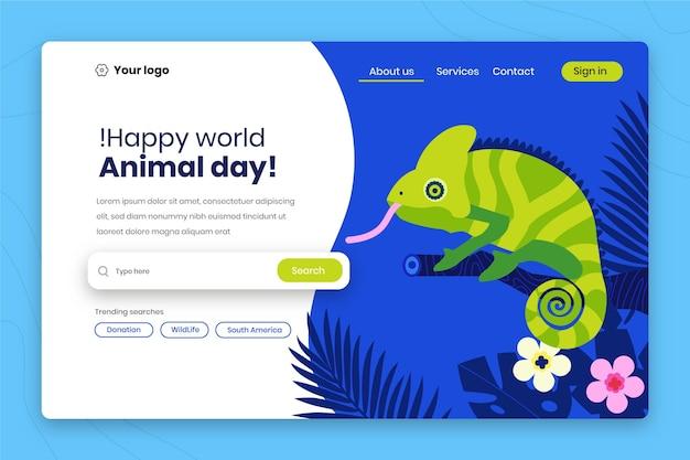 Handgetekende sjabloon voor bestemmingspagina voor werelddierendag