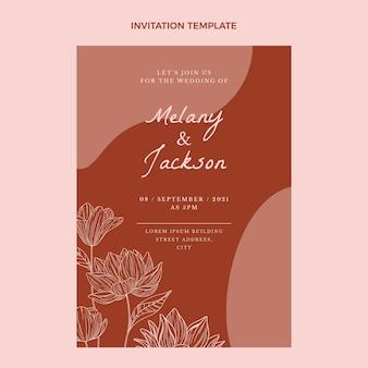 Handgetekende sjabloon voor huwelijksuitnodiging