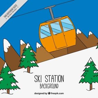 Handgetekende ski-station met de kabelbaan