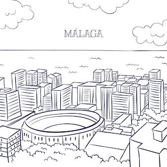 Handgetekende skyline van malaga m