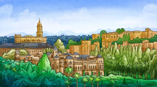 Handgetekende skyline van malaga
