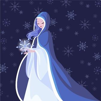 Handgetekende sneeuw meisje karakter illustratie