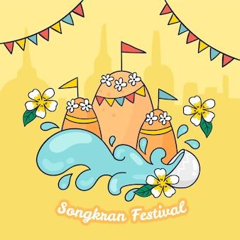 Handgetekende songkran festival