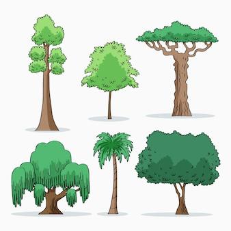 Handgetekende soort bomencollectie