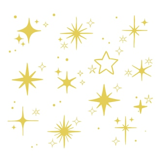 Handgetekende sprankelende sterrencollectie star