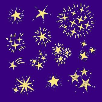 Handgetekende sprankelende sterrencollectie