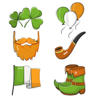 Handgetekende st. patricks dag element collectie concept