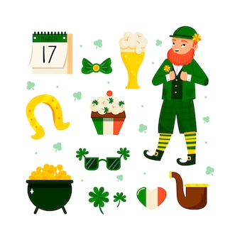 Handgetekende st. patricks dag element collectie thema