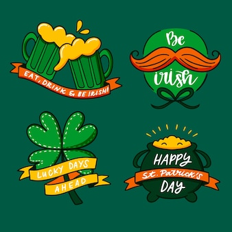 Handgetekende st. patricks dag label collectie concept