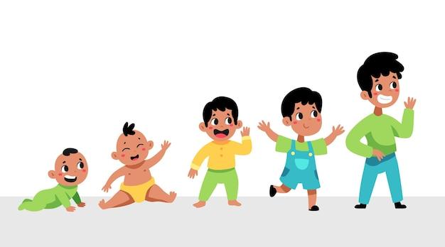 Handgetekende stadia van een illustratie van een babyjongen