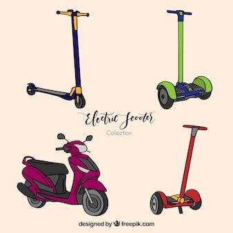 Handgetekende stedelijke scooters met leuke stijl