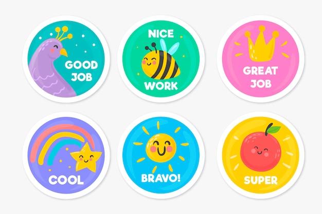 Handgetekende stickerpakket voor goed werk en geweldig werk