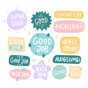 Handgetekende stickers voor goed werk en geweldig werk