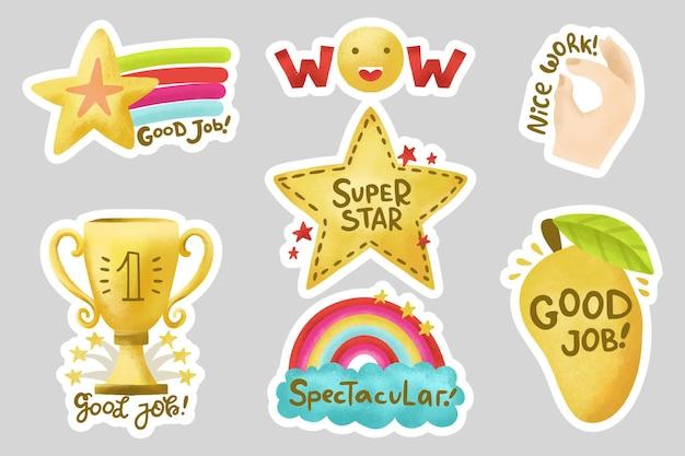 Handgetekende stickers voor goede banen