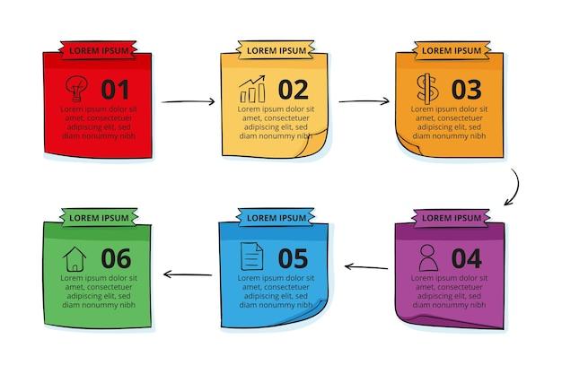 Handgetekende sticky notes boards infographics