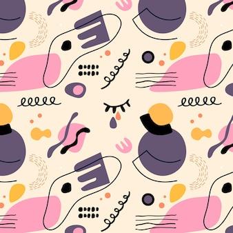 Handgetekende stijl abstracte vormen patroon