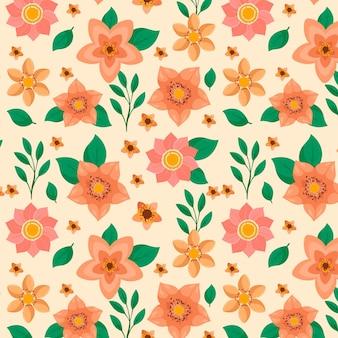 Handgetekende stijl bloemmotief in perzik tinten