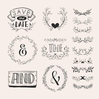 Handgetekende stijl bruiloft ornament collectie