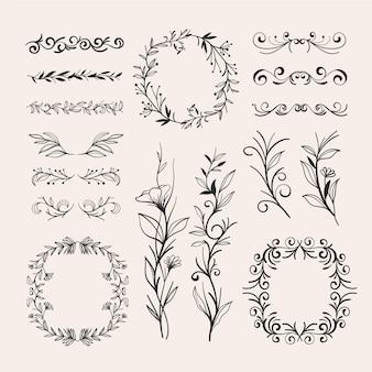 Handgetekende stijl bruiloft ornamenten