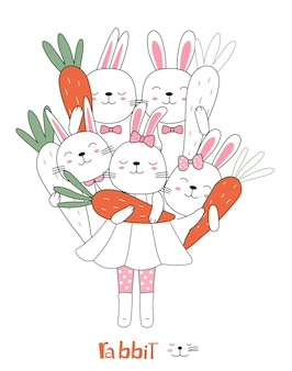 Handgetekende stijl cartoon schets de schattige houding baby konijn dier met wortel