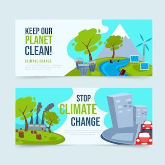Handgetekende stijl klimaatverandering banners