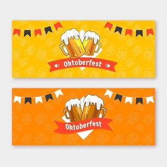 Handgetekende stijl oktoberfest horizontale banners
