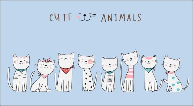 Handgetekende stijl. schattige kat dierlijk beeldverhaal