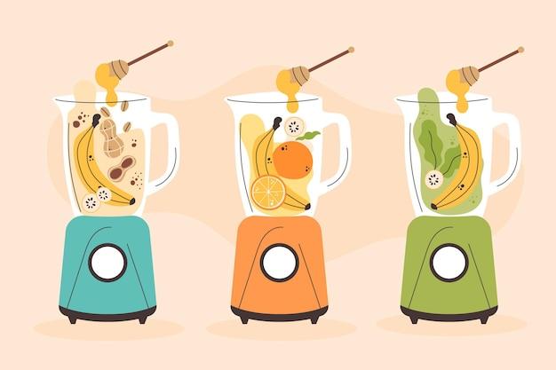 Handgetekende stijl smoothies in blender glas